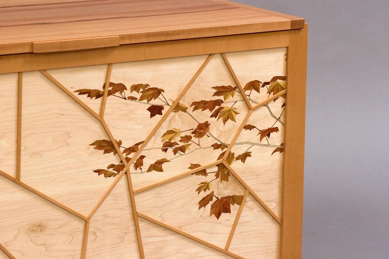 blanket chest maple leaves